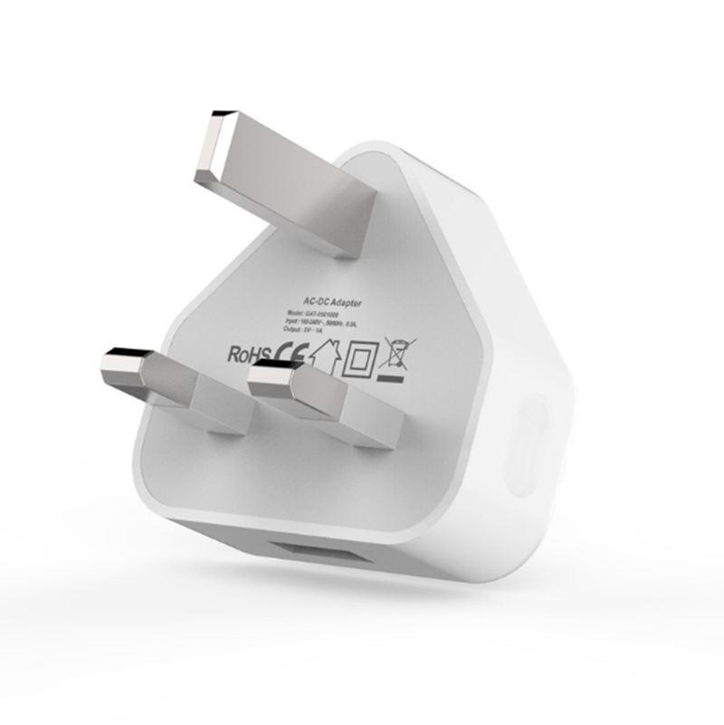PC + ABS CE QC3.0 Reino Unido 1a Usb para teléfono móvil negro enchufe de cargador de pared