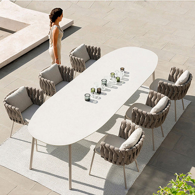 Modern royal hotel rope dining set patio furniture balcony dining table and 6 seater chair garden outdoor furniture