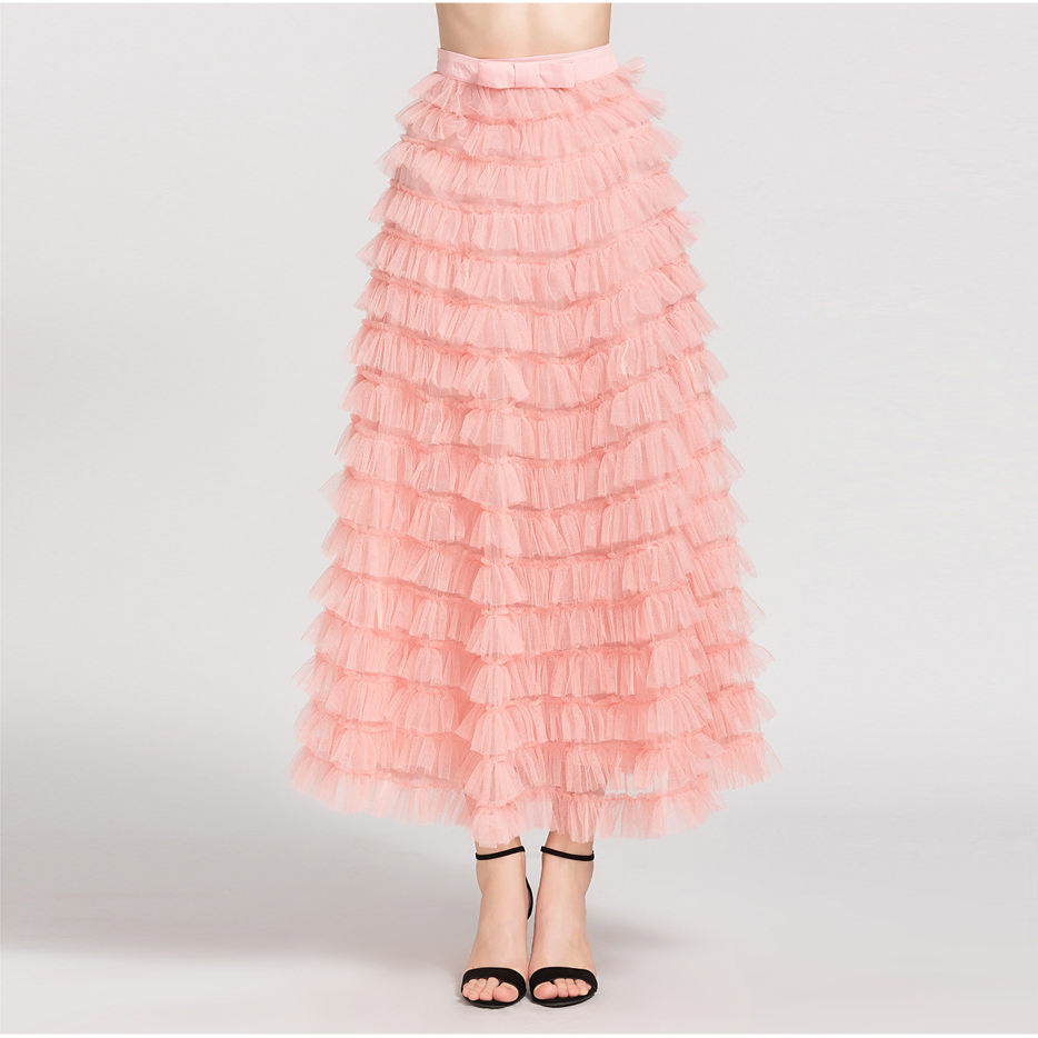 A3582 Multi Layer Tulle Long Skirt A Line Flare Style Summer New Pleated Skirt
