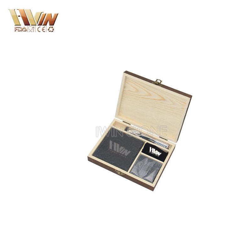 многоразовый лед в форме игрального кубика для вина и квадратных каменных подстаканников в нежной сосновая деревянная коробка