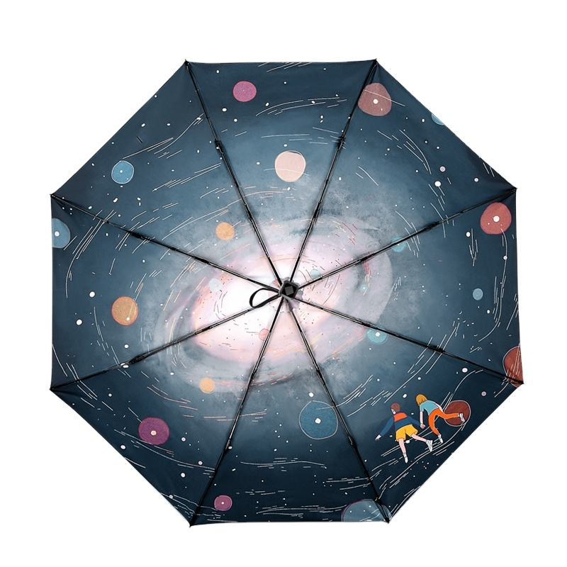 Fantastic umbrella romantic Space flight Sun protection Vinyl Shade 3 folding umbrella
