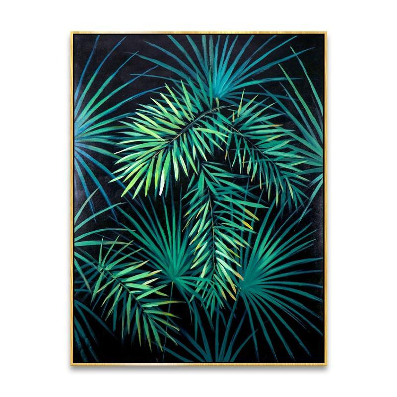Hoja de palma puro pintado a mano contemporáneo arte abstracto Lona de tela de pintura de aceite para la sala de decoración