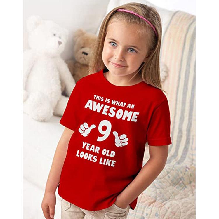 выглядит просто синяя футболка воротник Топы с принтом для детей подростков детей 9 лет девочка футболка для детей Celrbration