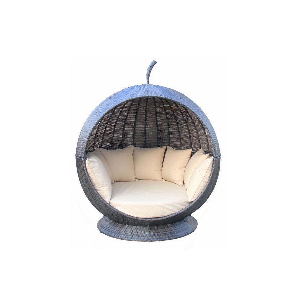 Tumbona de manzana de ratán para jardín al aire libre con tejado tejido