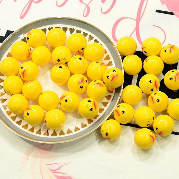 32mm plastic solid bouncing ball small yellow duck rubber balls for sale