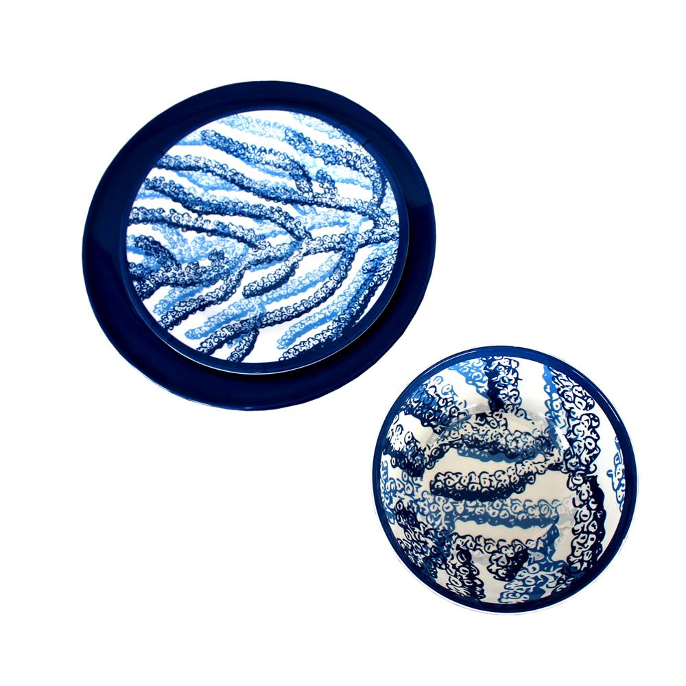 Deniz tarzı melamin yemek takımı <span class=keywords><strong>mercan</strong></span> desen kullanımlık yemek takımı seti dekorasyon
