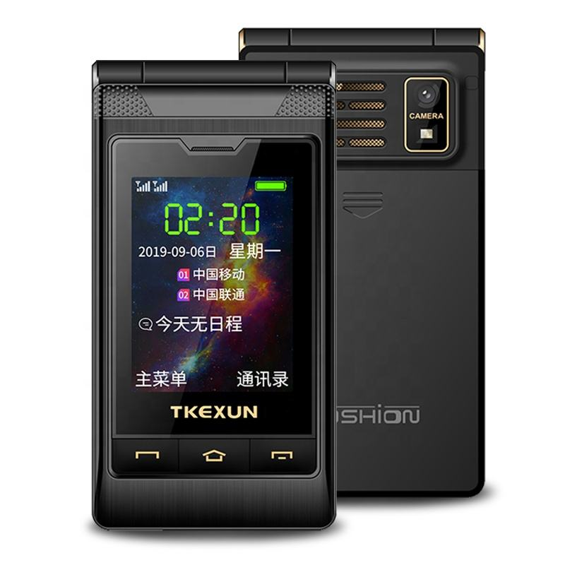 TKEXUN Women Flip Phone With Double Dual Screen Dual Sim Camera MP3 MP4 2.8 Inch Touch Screen Luxury Senior電話Cell Phone
