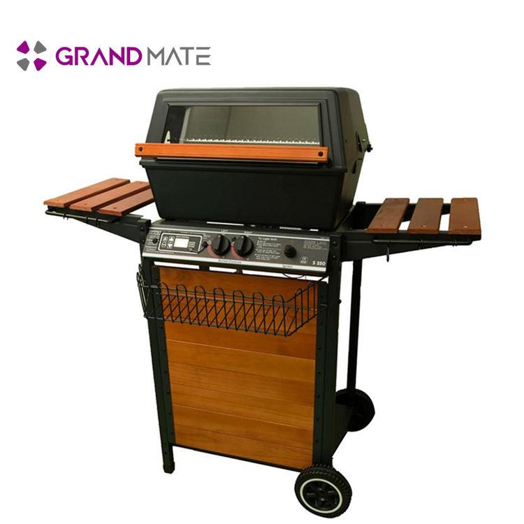 Commercio all'ingrosso outdoor automatico in acciaio inox barbecue a gas senza fumo barbecue grill barbecue grill forno fumatore