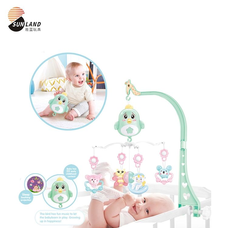 Mobile Projection And Night Light Plastic Baby Musical Crib Rotate Hanging Music Toy Bed Bell With Projector Bed Bell