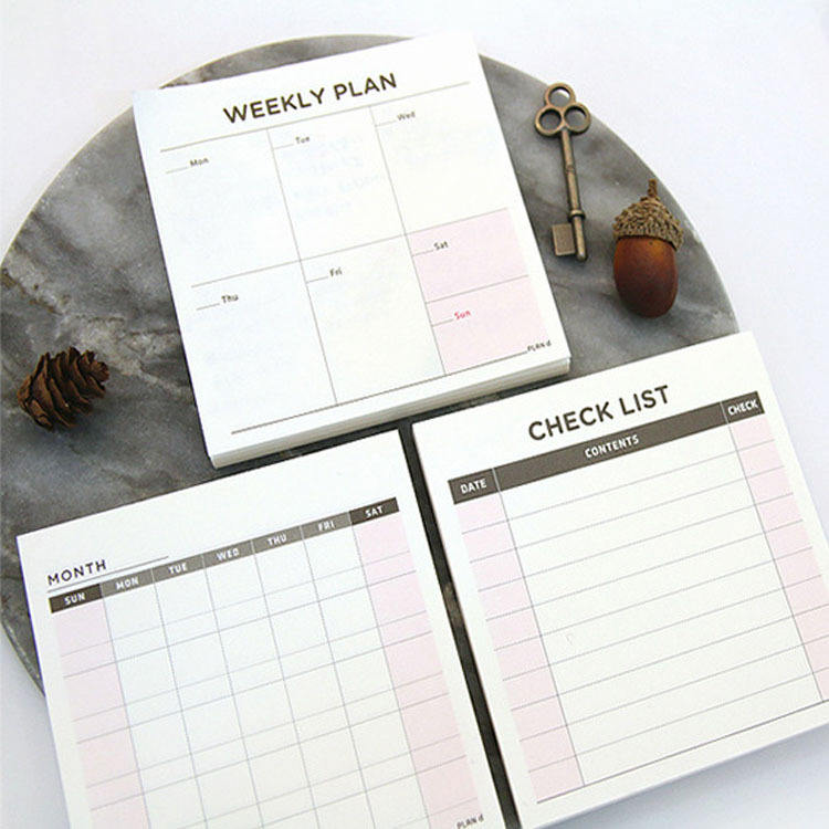 60 sheet/Pack 94*94mm Simple Office Notepad Sticky Notes Tear-off Memo Book To Do Daily Plan Weekly Plan Time Table