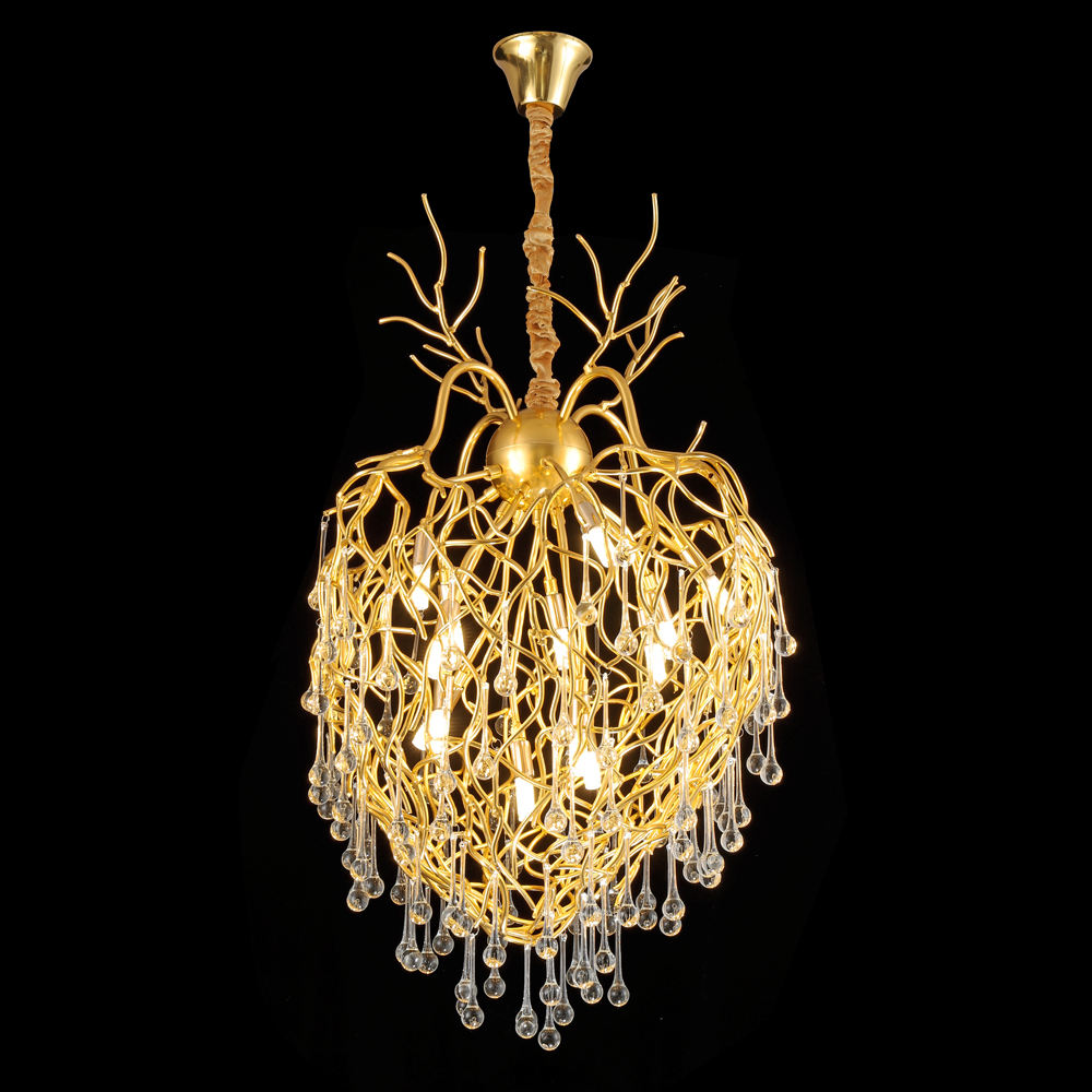 Zhongshan Post Modern golden Decorative Hanging Chandelier Pendant Light for Hotel