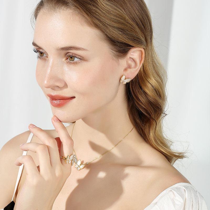 Дара бабочка форма серьги кольцо цепочки и ожерелья модные украшения, серьги браслет цепочки ожерелья комплект, Свадебные для женщин
