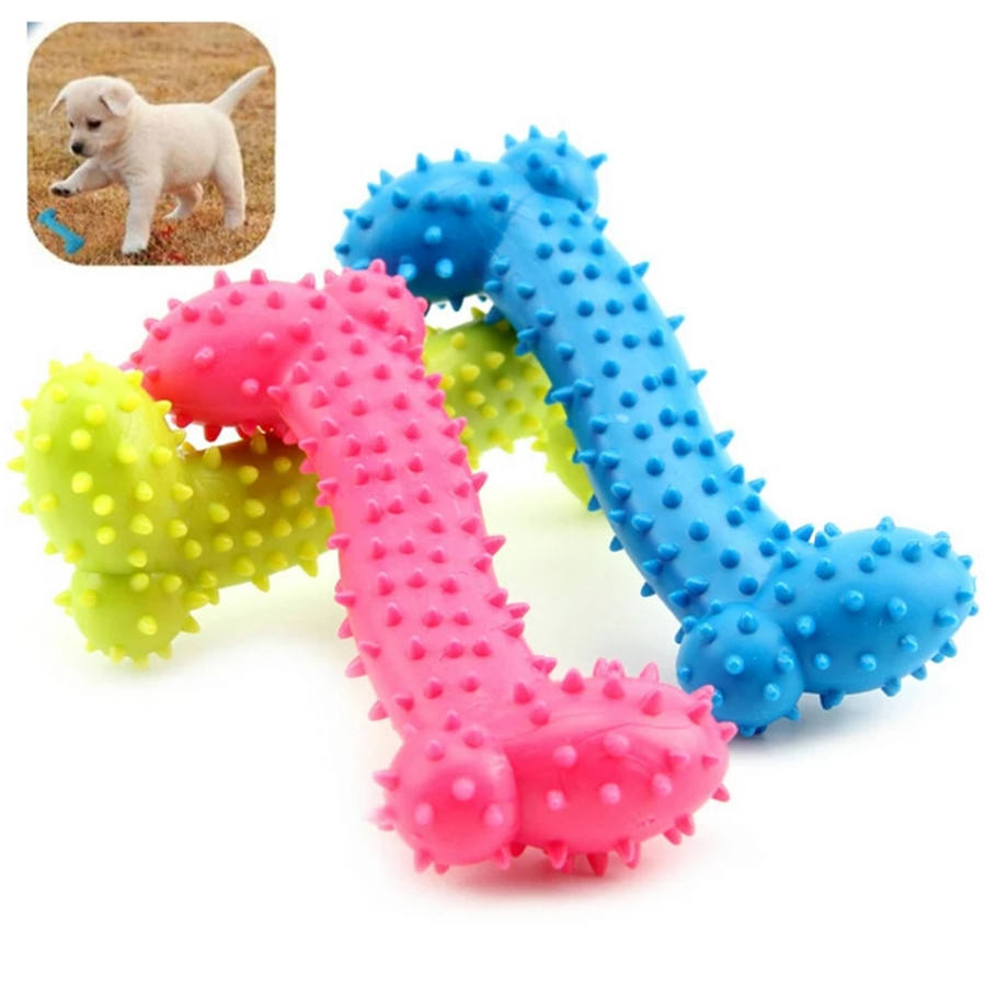 Dog Toys Rubber Resistant To Bite Bone Dog Puppy Molars Rubber Ball Play For Teeth Training Thermal Plastic Pet TOY