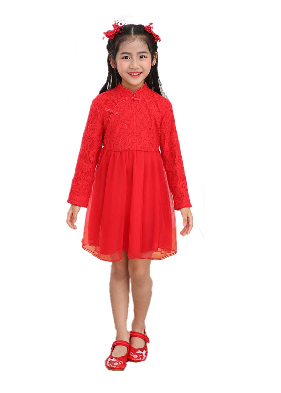 Девушка летом длинный рукав мандарин коларин день рождения китайского традиционного платья китайский красный шифон принцесса пла