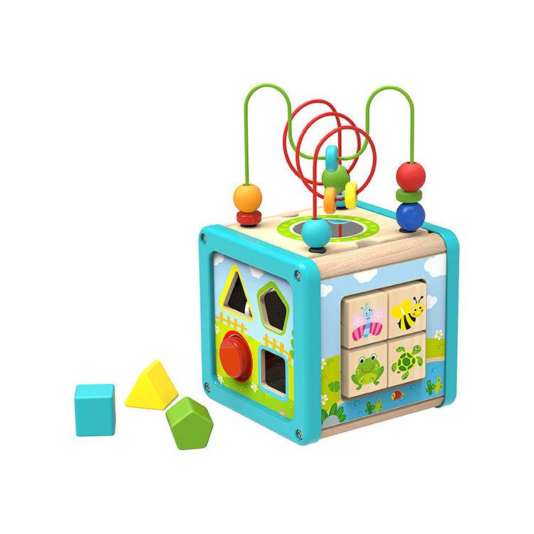 Nuevo diseño del bebé los niños juguetes educativos de montaña rusa de madera de actividad cubo Juguetes