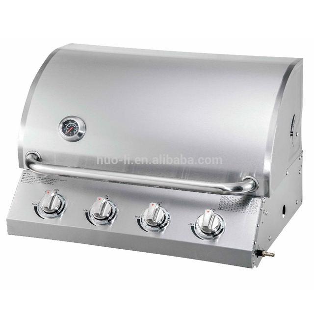 Alta qualidade cozinha mesa coberta churrasqueira 4 barbique grill queimadores de aço inoxidável construído-em instante