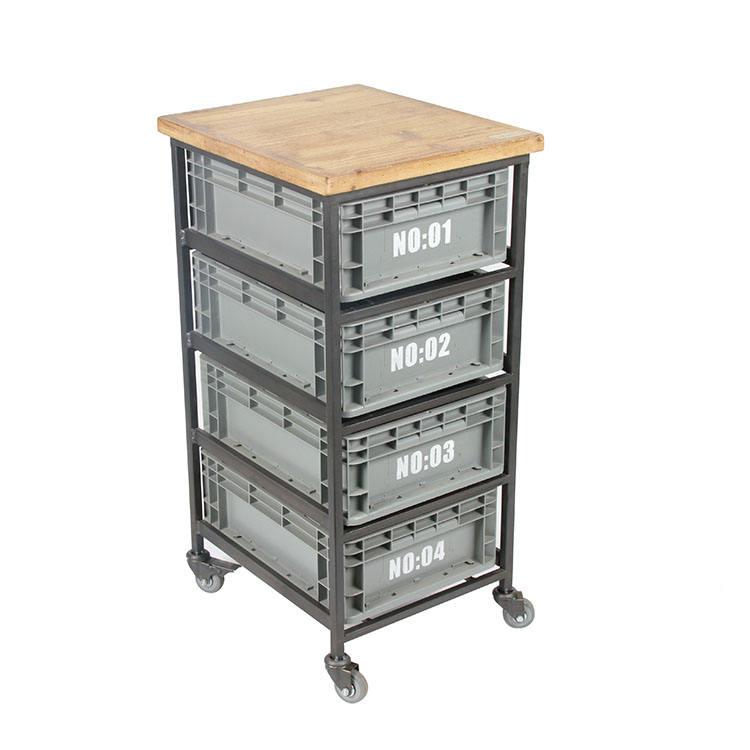 Industrial Metal marco de plástico de almacenamiento muebles de madera 4 del gabinete del cajón con ruedas