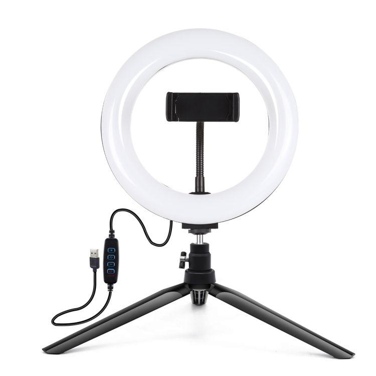 تصنيع بولوز 7.9 بوصة 20 سنتيمتر ضوء سطح المكتب ترايبود جبل USB 3 طرق عكس الضوء المزدوج اللون درجة الحرارة LED حلقة إضاءة منحنية