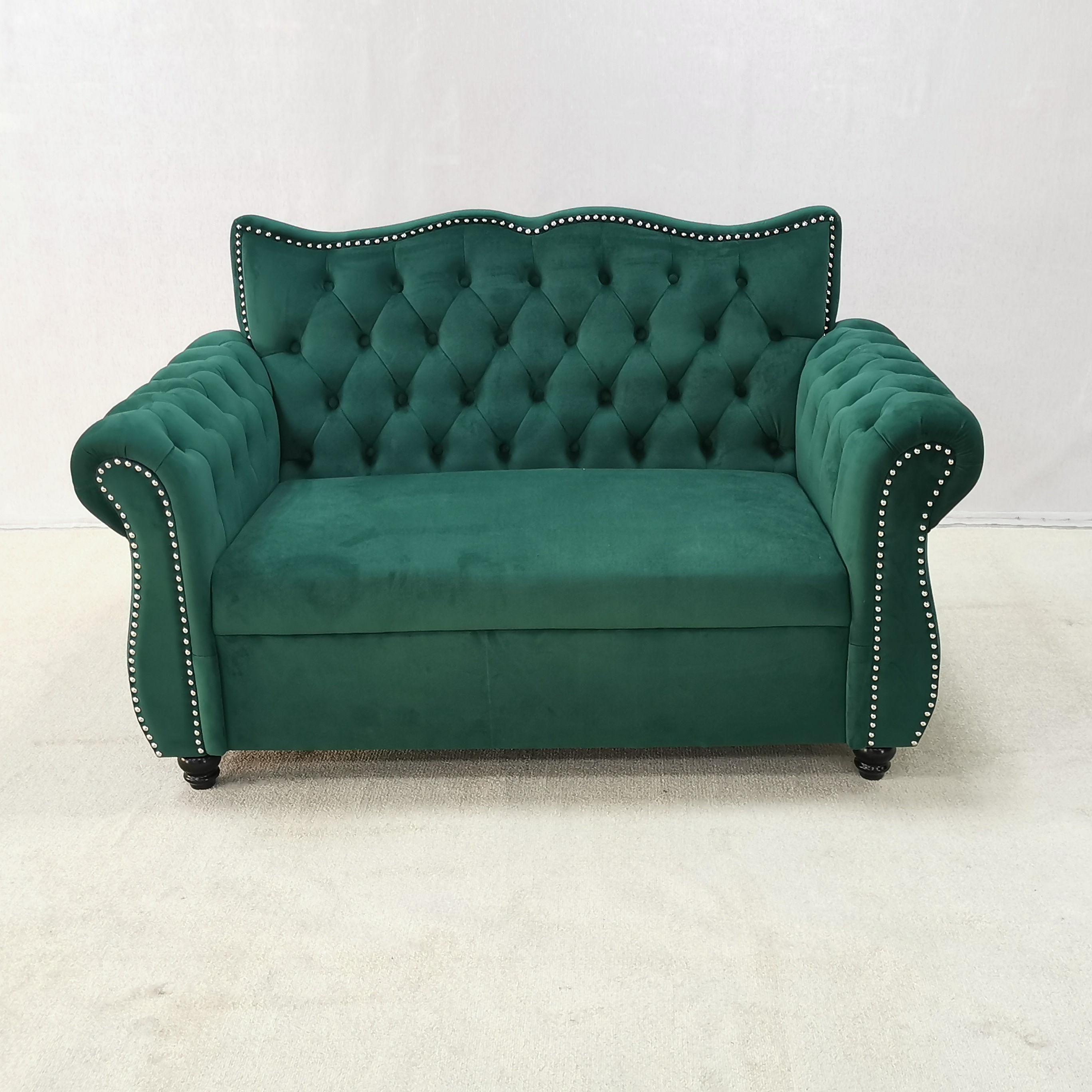 Foshan móveis Xin yu Veludo Adornado Chesterfield Sofá da Sala de estar de Luxo Verde