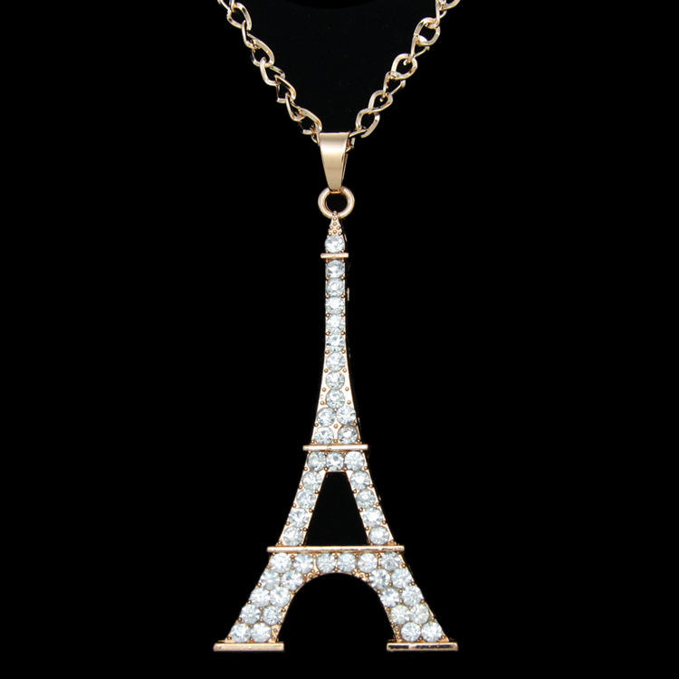 Pendentif incrusté de diamants incrustés, le tour Eiffel de Paris, faciles à assortir, pendentif scintillant, nouvelle collection
