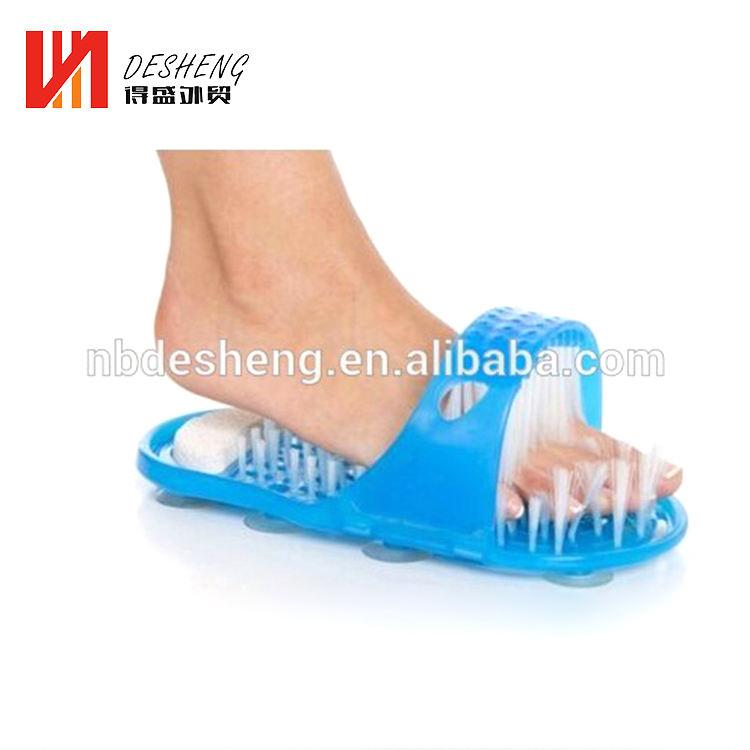 Nuevo artículo de plástico fácil <span class=keywords><strong>pies</strong></span> ducha limpia zapatilla pie cepillo masajeador