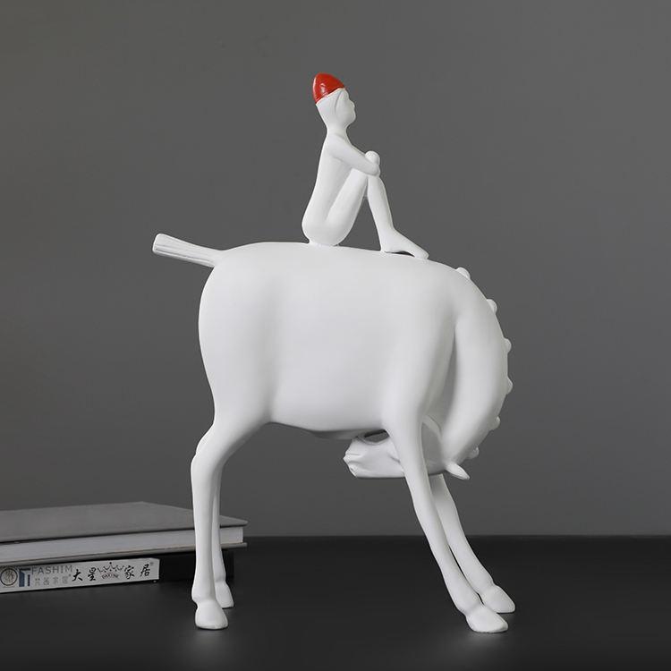 Escultura em resina branca moderna abstrata decorativos para sala de estar decoração de interiores