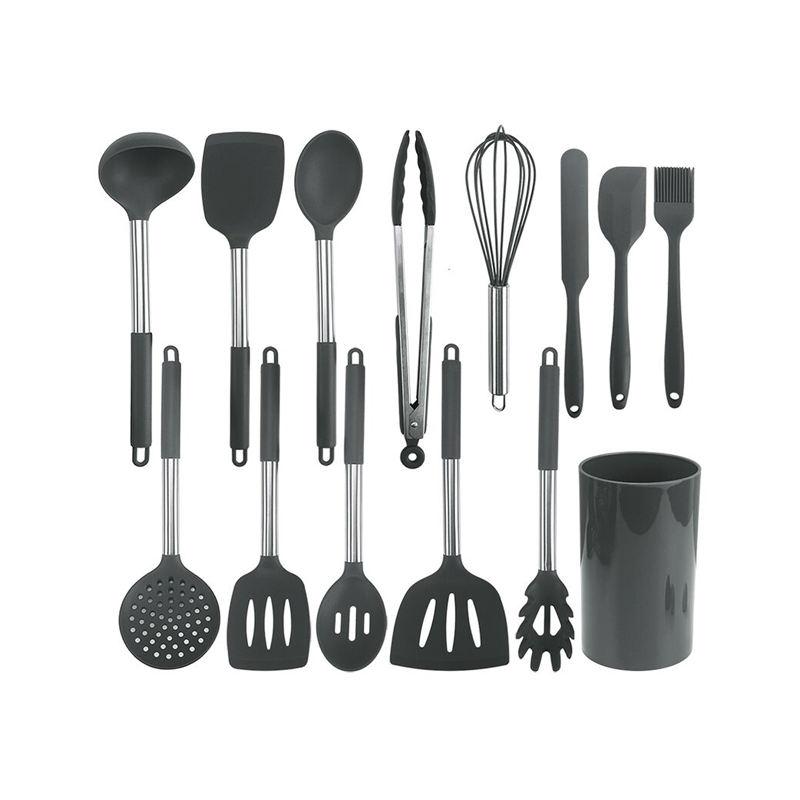 RAYBIN 14 Pcs bpa libre antiadherente de acero inoxidable de silicona utensilio de cocina