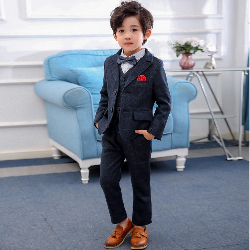 Adequado Outono Meninos Boutique Roupas de Algodão Meninos Jaqueta Crianças Terno Do Casamento 4 Pedaço Terno Para Meninos
