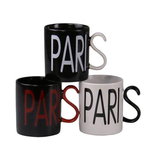 Personalizado recuerdo taza con la creatividad diseño de mango etiqueta logotipo Taza de cerámica de París recuerdo regalo