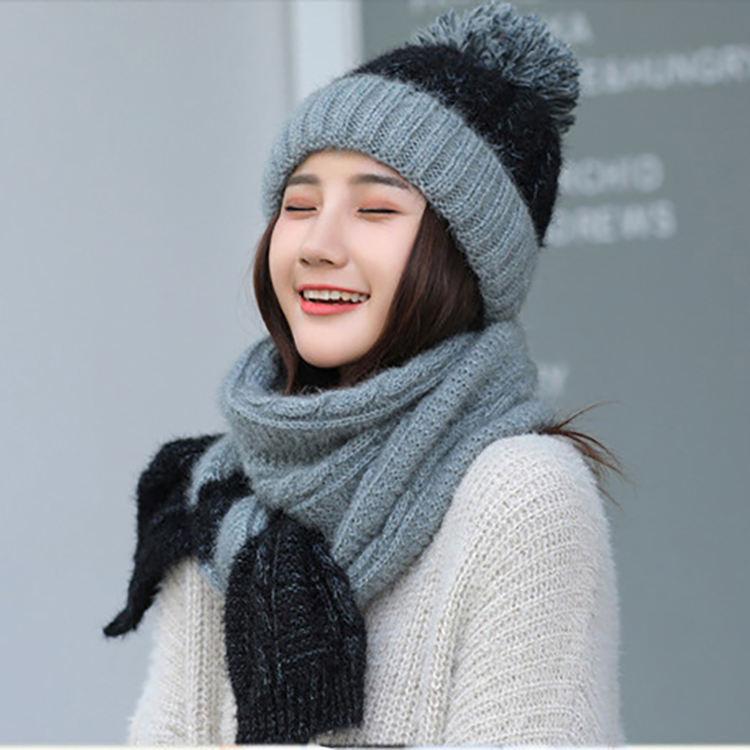 De invierno Venta caliente diseño de moda cálido pom sombrero y bufanda de señoras