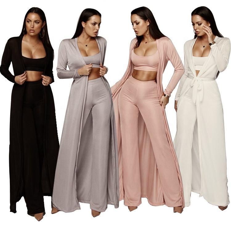 Último diseño de moda 3 pieza damas de pierna ancha pantalones de manga larga pantalones de las mujeres con cubierta