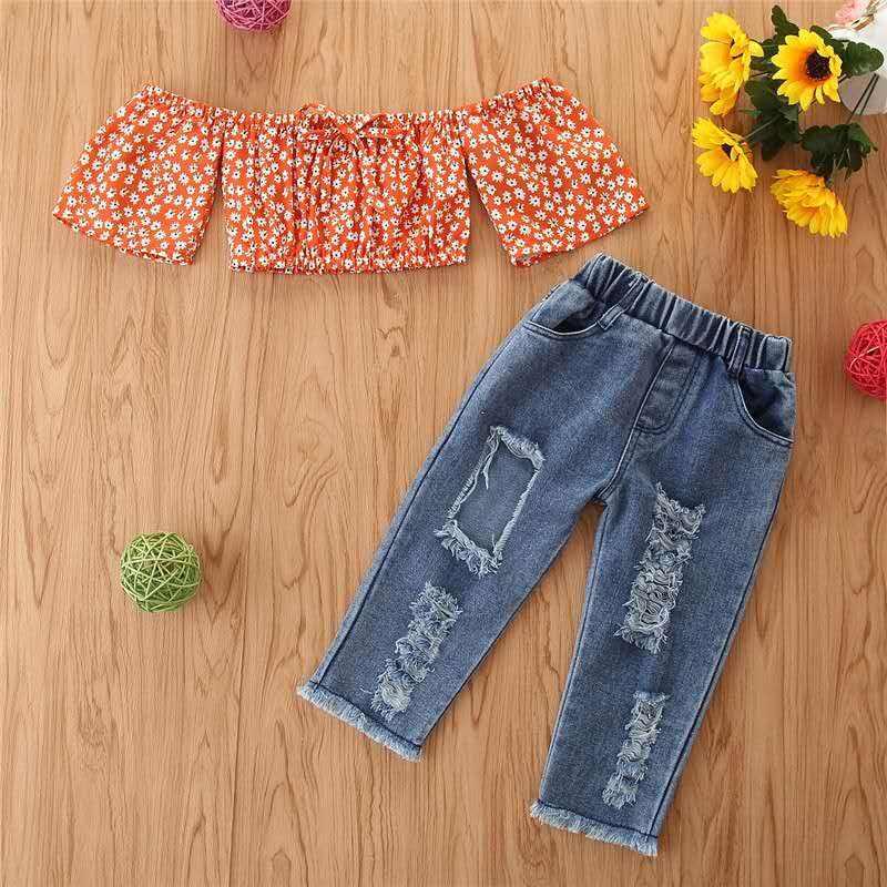 2020 أزياء الفتيات مجموعة ملابس 2 قطعة ملابس الاطفال Girls Boutique انفجرت الجينز ملابس