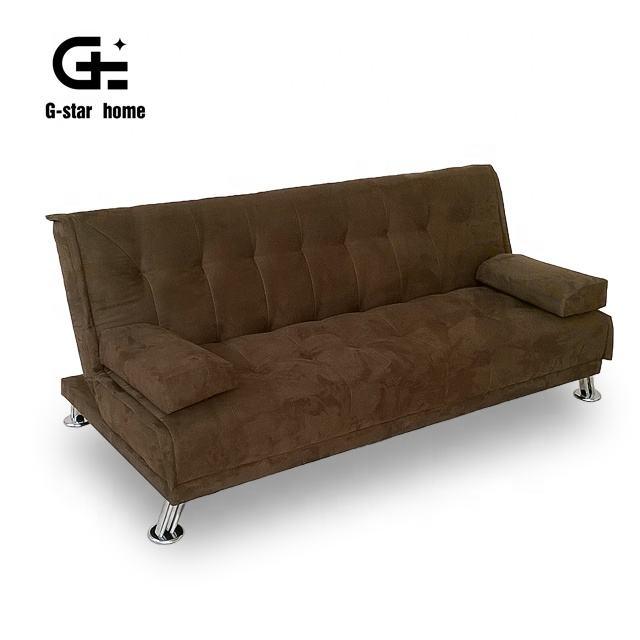 Коричневый ткань бархат материал гостиная диван кровать современный трансформатор кровать складной