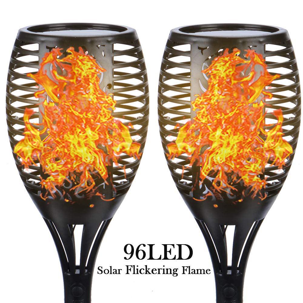 Led impermeable LED Luz de jardín Solar <span class=keywords><strong>llama</strong></span> parpadeante antorchas lámpara para jardín patio balcón