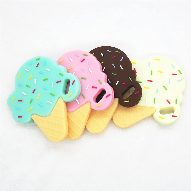 Factory Wholesale BPA Free Food Silicone Teether ice cream baby chewy sensory toys for baby