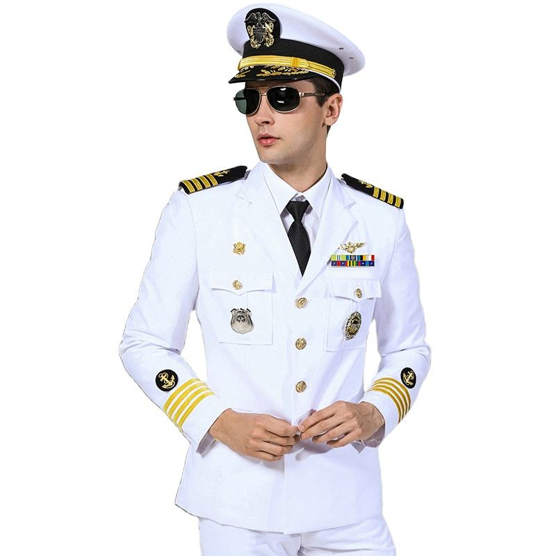 Military Officer Police White Royal Navy Uniform with Badge