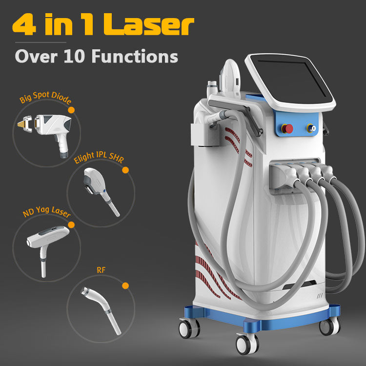 High cost-effective 4 in 1 Elight +808nm diode laser+q switched IPL SHR RF nd yag laser multifunctional beauty machine
