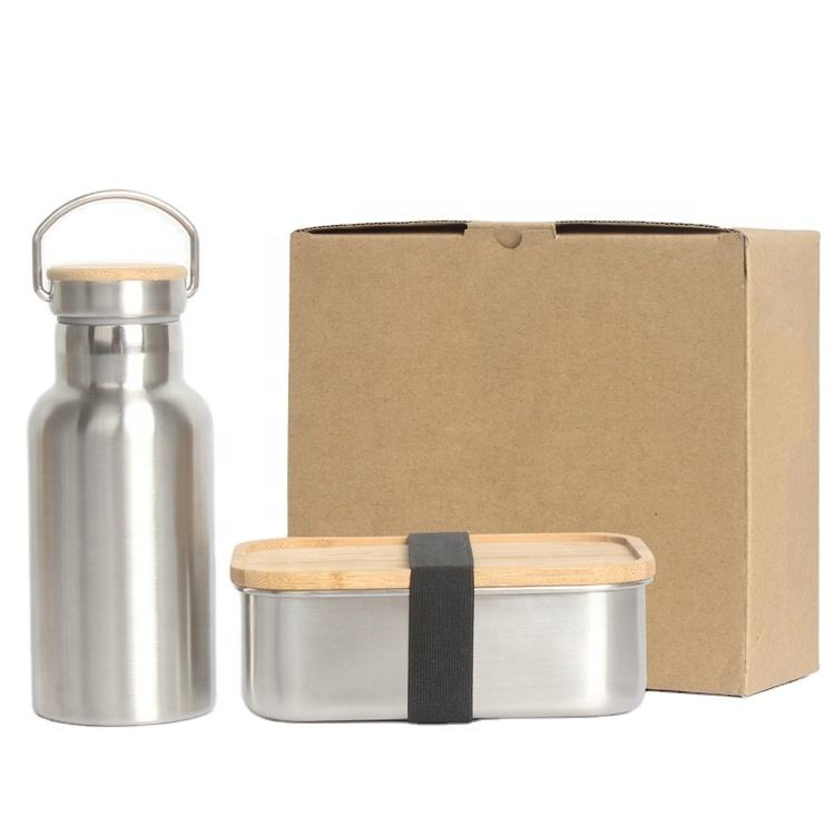 Nicety new products stainless steel lunch box bamboo lid easy carrier double wall water bottle with bamboo lid set