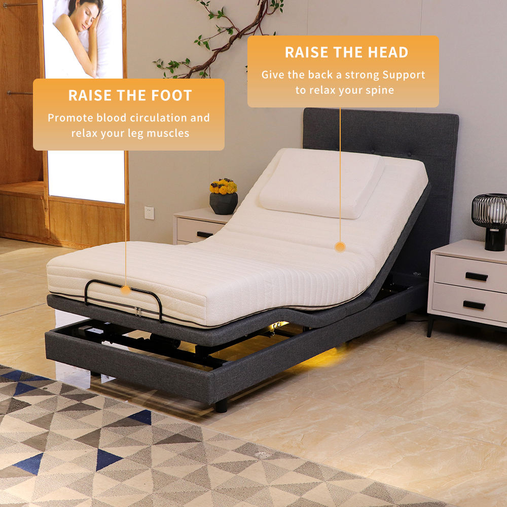 Custom Single Or King Size Remote Control Adjustable Bed Frame Smart Electric Bed Frame Came With Okin Motor