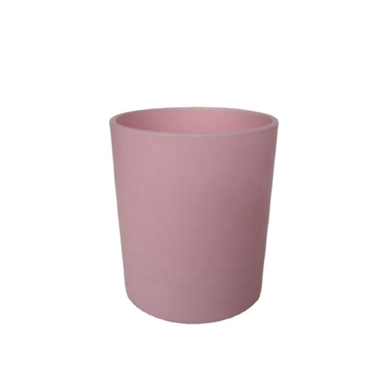 High-end Custom Solid Opaque Matt Pink Color Painted Glass Candle Jar ,candle vessel holder