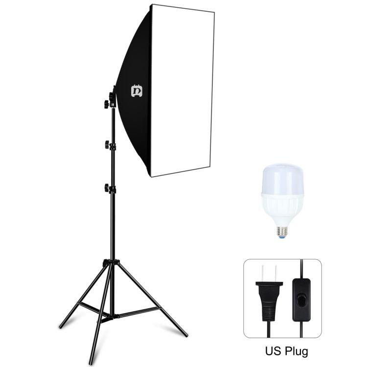 PULUZ 50x70cm Studio Softbox Tripod Single White Light LED Light Bulb Professional Photography Lighting Kit