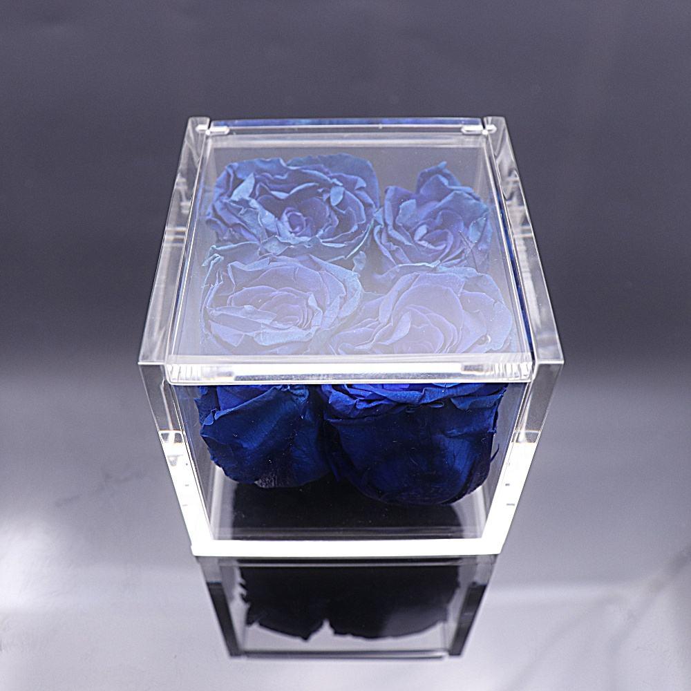 De más barato flores de acrílico caja de la caja de exhibición de acrílico con tapa