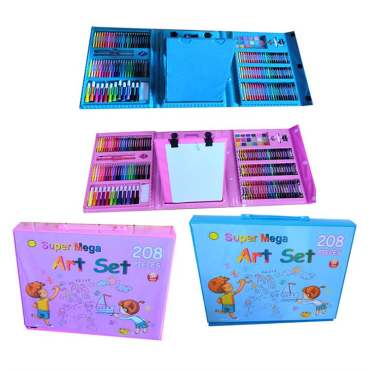Wholesale 208-Piece small Trifold Easel School Kids Drawing Art Stationery painting Set with Russian or English cover paper