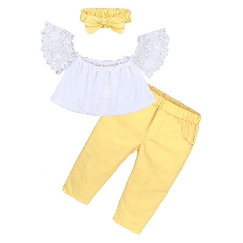خريف جديد الدانتيل الأبيض قبالة الكتف الاطفال الفتيات أطقم ملابس الطفل