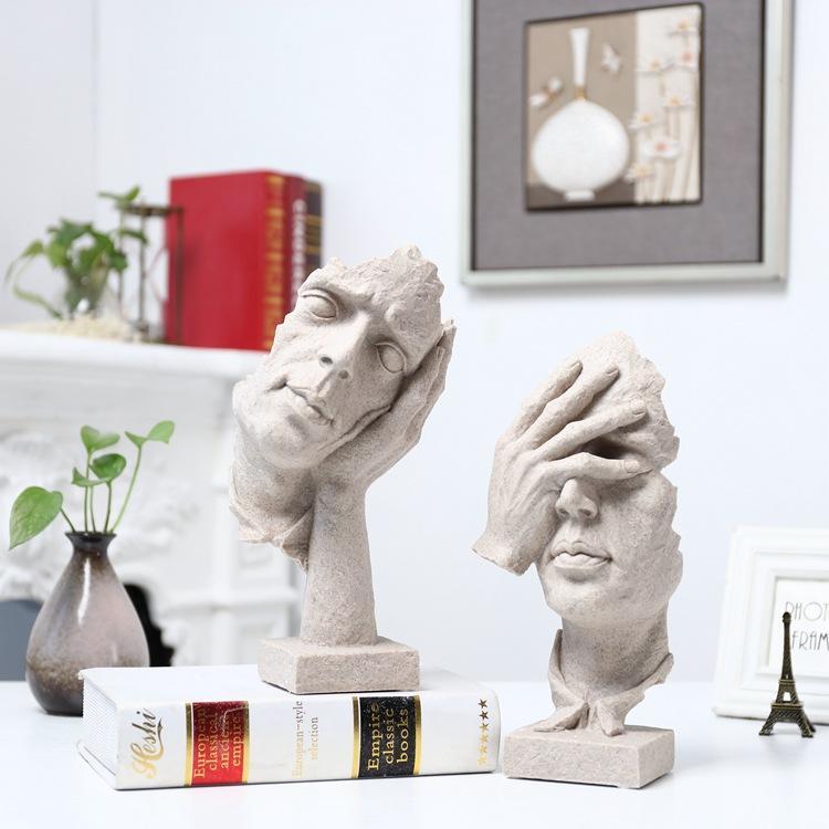 Criativo sala de estar sala de arte decoração mobiliário ornamentos artesanato resina o silêncio é ouro do vintage escultura