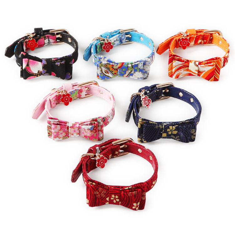 Hot Sale Japanese-style Bow Cat Collar PU Collar Bell Bow Pet Cat Tie