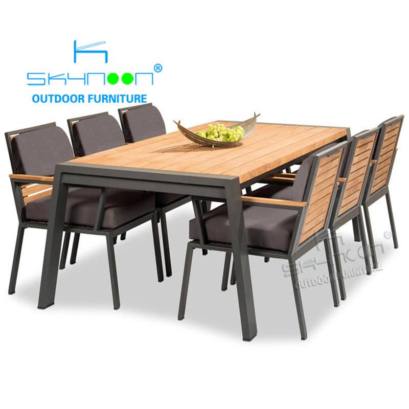 Restaurante moderno sillas de terraza mesas y sillas de jardín de lujo muebles de exterior de teca de alta gama (61047)
