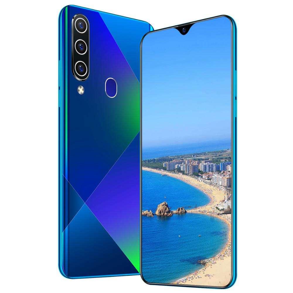 Directe d'usine Intelligente D'empreinte Digitale Déverrouiller 6.5 Pouces Goutte D'eau Grand Écran HD Android Téléphone