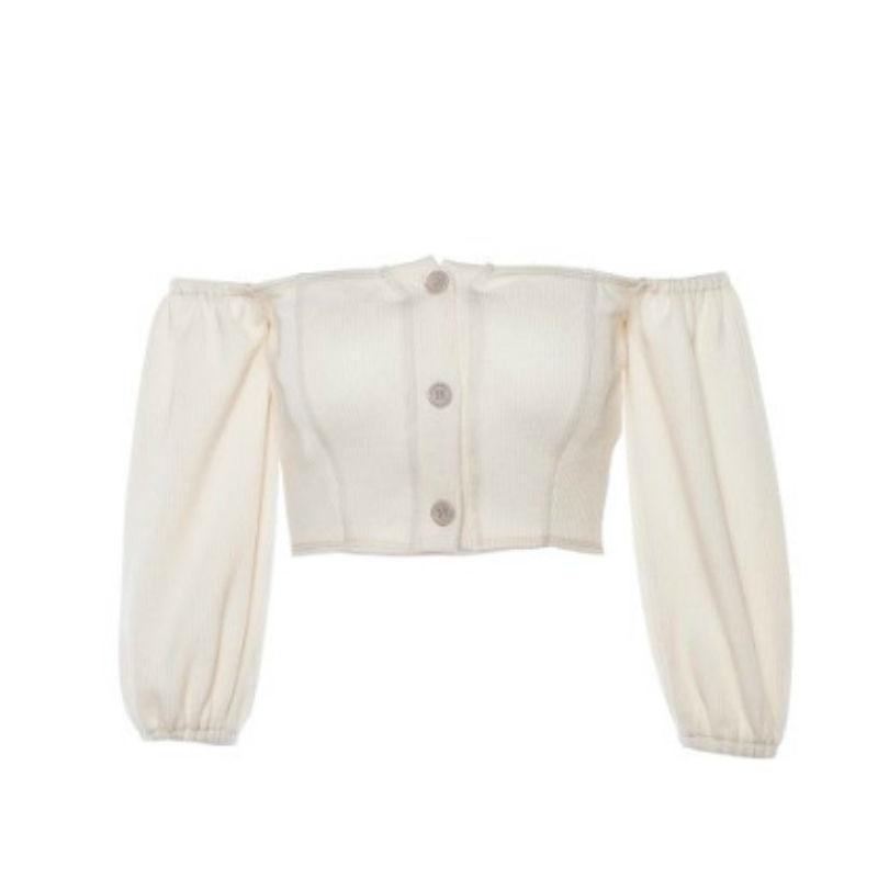 Nueva moda para mujer de botón de hombro tanque superior media manga Casual de verano de Color sólido Tops
