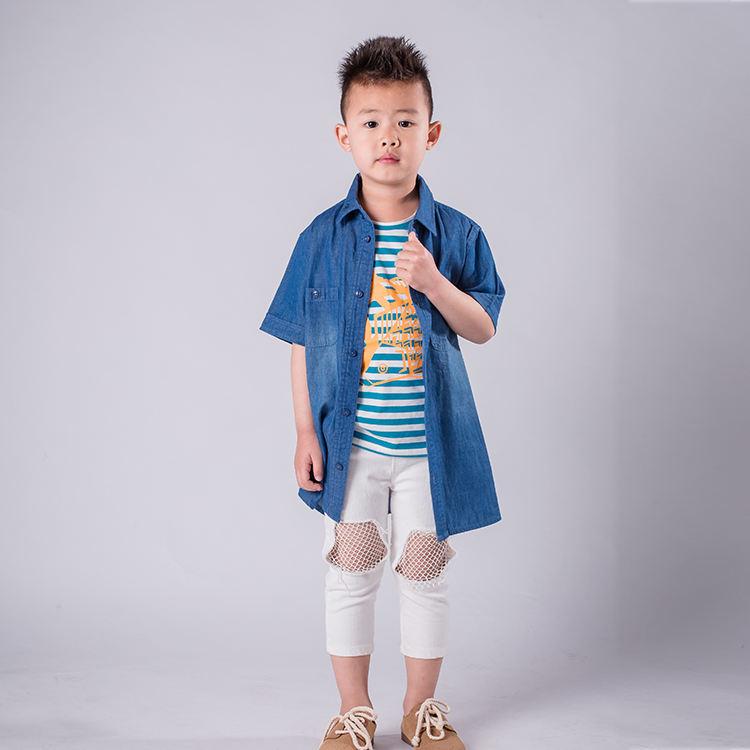 Осенняя детская джинсовая рубашка с длинными рукавами для мальчика